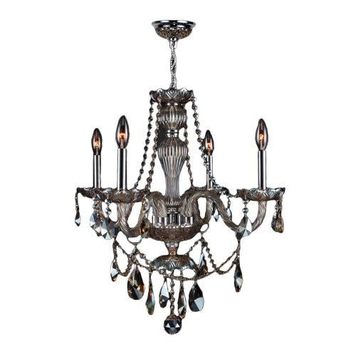 """Provence Collection 4 Light Chrome Finish and White Crystal Chandelier 23"""" D x 25"""" H Medium"""