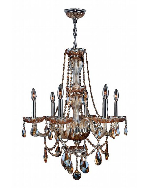 """Provence Collection 6 Light Chrome Finish and Amber Crystal Chandelier 23"""" D x 31"""" H Medium"""