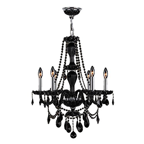 """Provence Collection 6 Light Chrome Finish and Black Crystal Chandelier 23"""" D x 31"""" H Medium"""