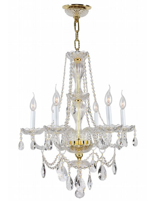 """Provence Collection 6 Light Gold Finish and Clear Crystal Chandelier 23"""" D x 31"""" H Medium"""