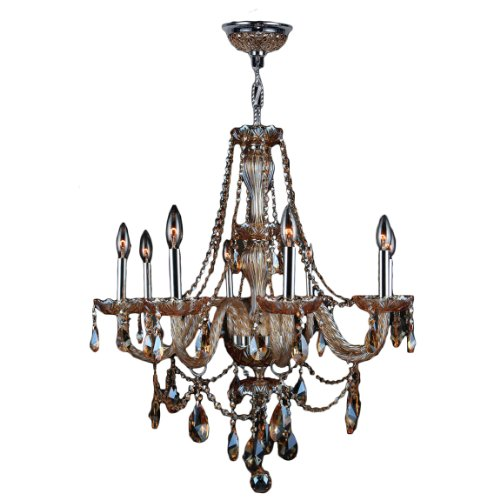 """Provence Collection 8 Light Chrome Finish and Amber Crystal Chandelier 28"""" D x 30"""" H Large"""