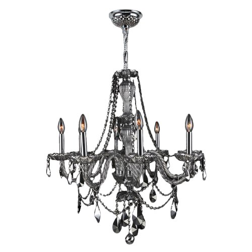 """Provence Collection 8 Light Chrome Finish and Chrome Crystal Chandelier 28"""" D x 30"""" H Large"""