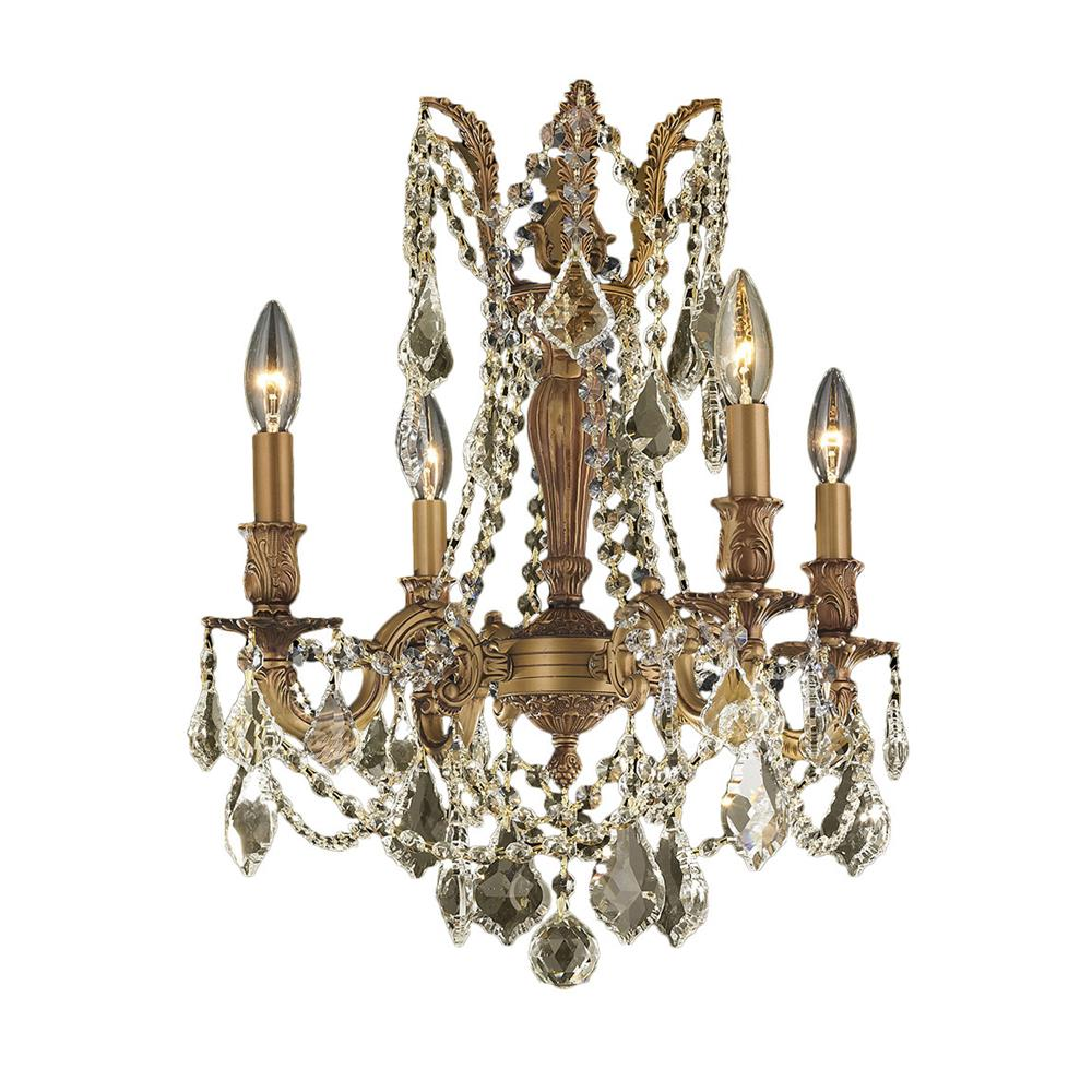 "Windsor Collection 4 Light French Gold Finish and Golden Teak Crystal Chandelier 17"" D x 21"" H Medium"