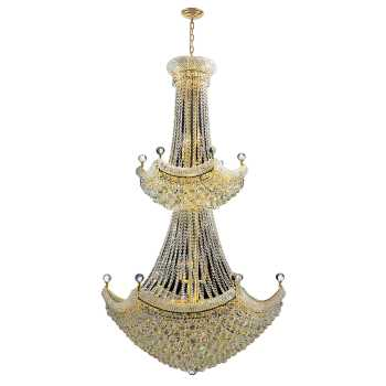 """Empire Collection 32 Light Gold Finish Crystal Chandelier 36"""" D x 66"""" H Two 2 Tier"""