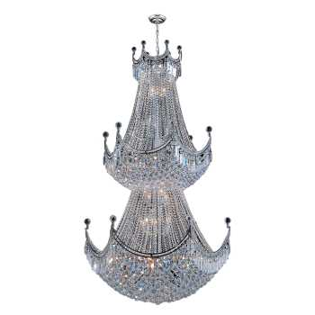 """Empire Collection 51 Light Chrome Finish Crystal Chandelier 36"""" D x 66"""" H Two 2 Tier Round Large"""
