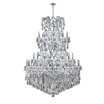"""Maria Theresa Collection 61 Light Chrome Finish Crystal Chandelier 54"""" D x 62"""" H Four 4 Tier Round Extra Large"""