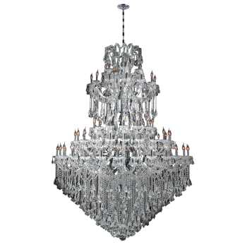 """Maria Theresa Collection 84 Light Chrome Finish Crystal Chandelier 72"""" D x 96"""" H Five 5 Tier"""