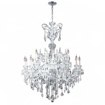 Maria Theresa Collection 18 Light Chrome Finish and Clear Crystal Chandelier