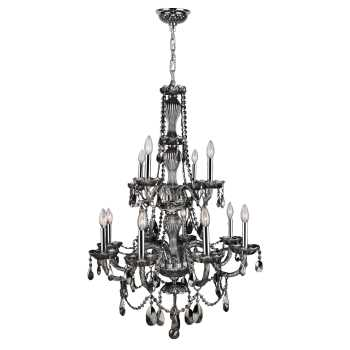 Provence 12 light Chrome Finish with Smoke Crystal Chandelier