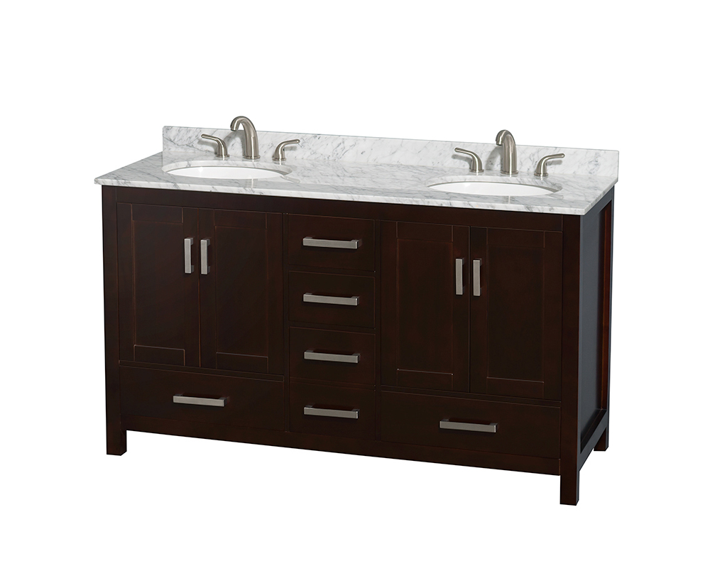 "60"" Double Bathroom Vanity in Espresso, White Carrera Marble Countertop, Undermount Oval Sinks, and No Mirror"