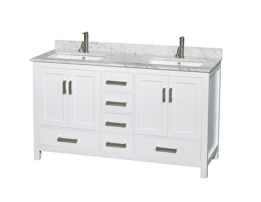 """60"""" Double Bathroom Vanity in White, White Carrera Marble Countertop, Undermount Square Sinks, and No Mirror"""