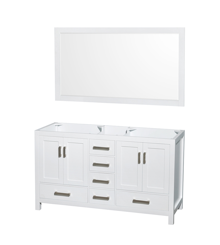 "60"" Double Bathroom Vanity in White, No Countertop, No Sinks, and 58"" Mirror"