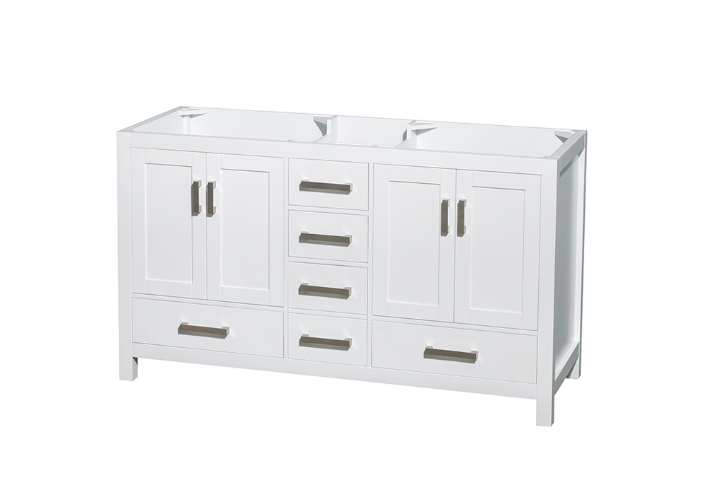 "60"" Double Bathroom Vanity in White, No Countertop, No Sinks, and No Mirror"