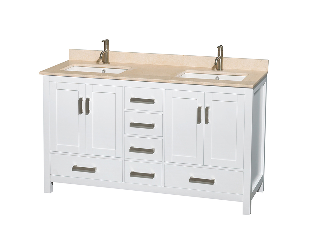 """60"""" Double Bathroom Vanity in White, Ivory Marble Countertop, Undermount Square Sinks, and No Mirror"""