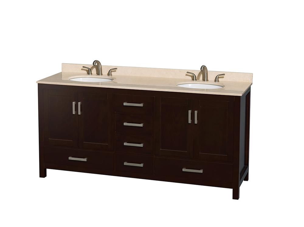 "72"" Double Bathroom Vanity in Espresso, Ivory Marble Countertop, Undermount Oval Sinks, and No Mirror"