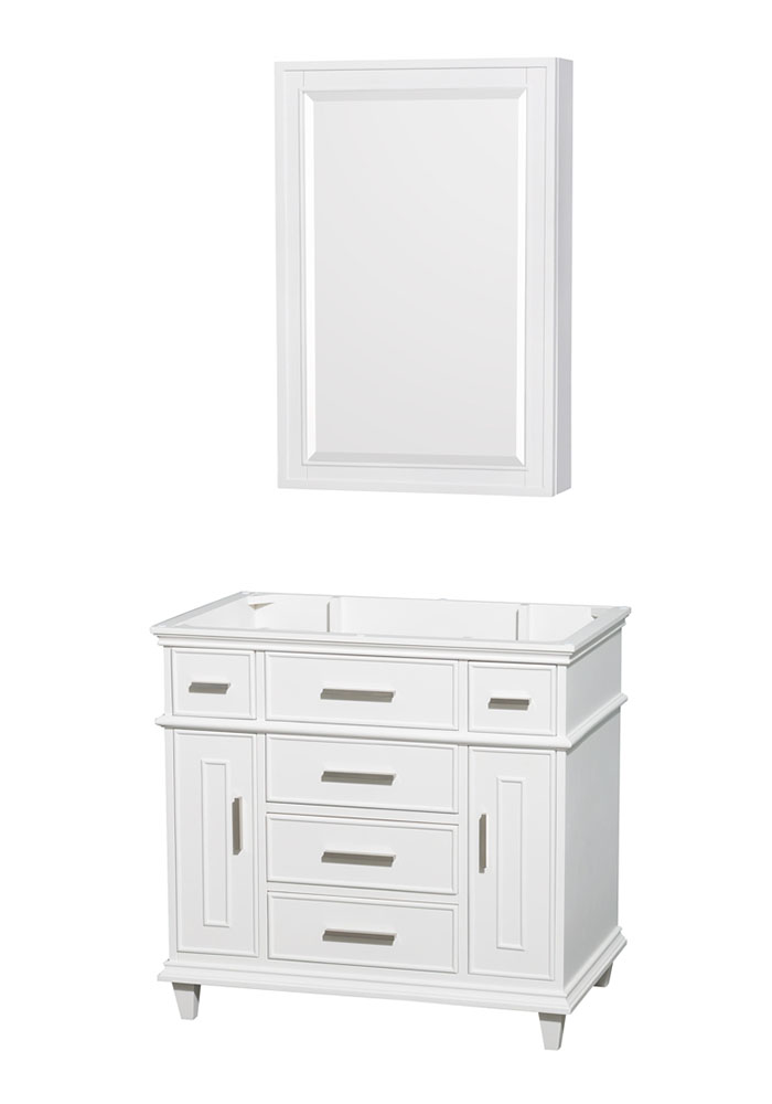 36 inch Single Bathroom Vanity in White, No Countertop, No Sink, 24 inch Medicine Cabinet