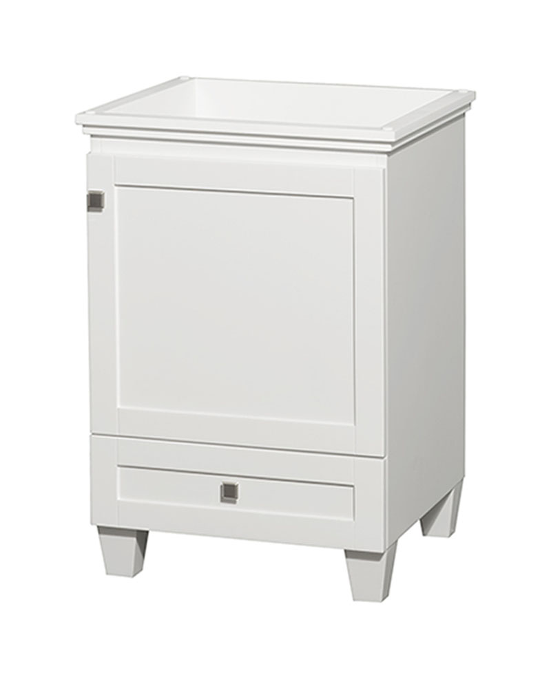 24 in. Single Bathroom Vanity in White, No Countertop, No Sink, and No Mirror