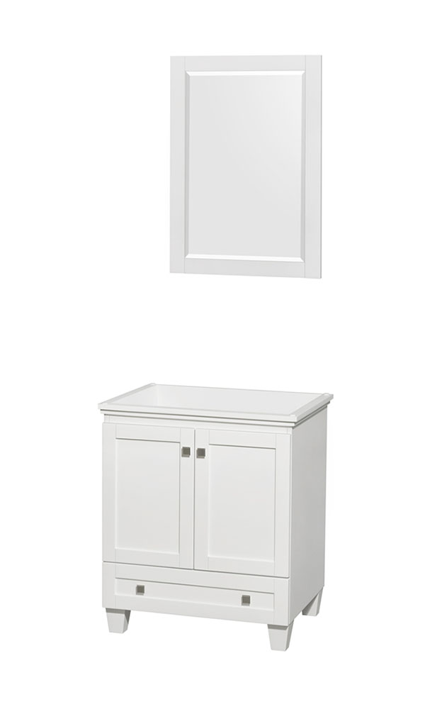 30 in. Single Bathroom Vanity in White, No Countertop, No Sink, and 24 in. Mirror