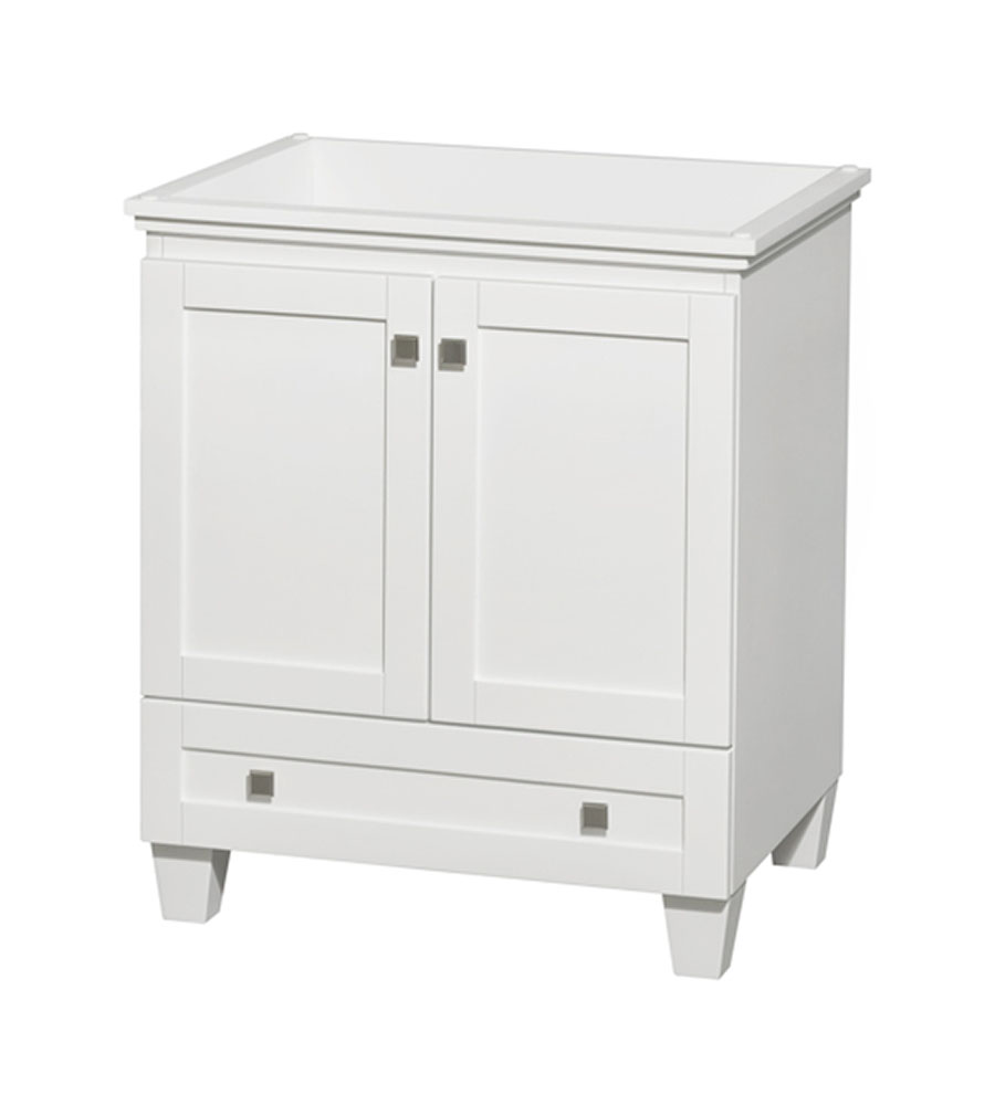 30 in. Single Bathroom Vanity in White, No Countertop, No Sink, and No Mirror