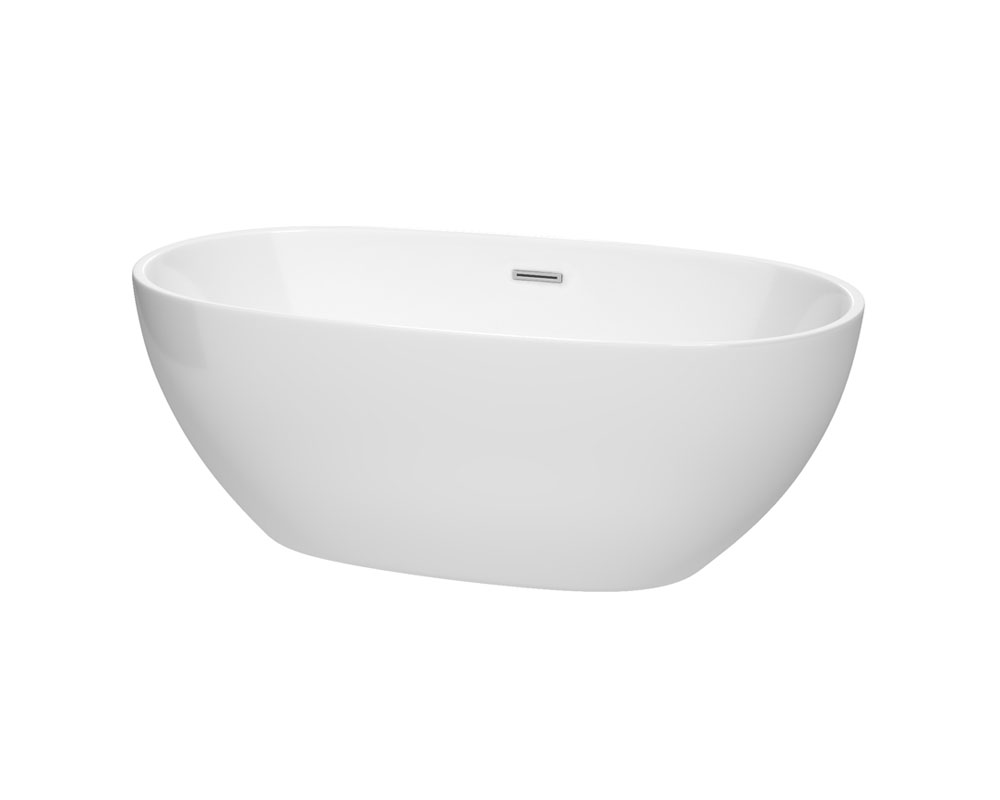 "Wyndham Collection Juno 63"" Freestanding Bathtub in White with Polished Chrome Drain and Overflow Trim"