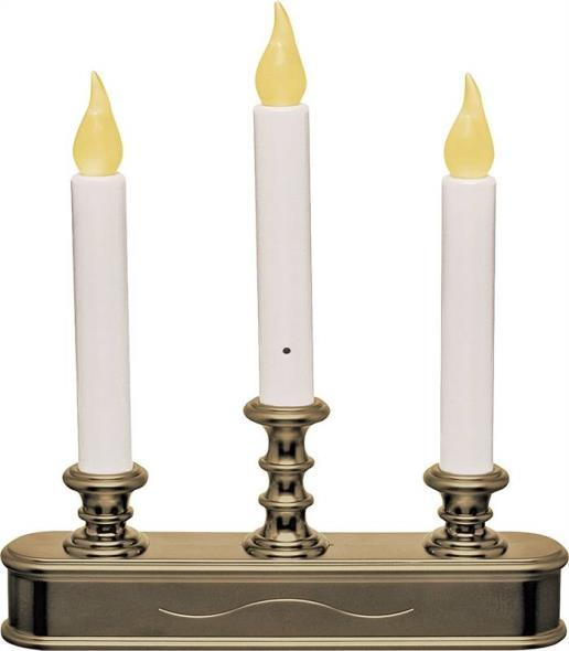 Xodus Innovations FPC1230 3-Tier Candelabra LED Candle, 9.45 in L x 1.97 in W x 11.22 in H, Antique Brass Base