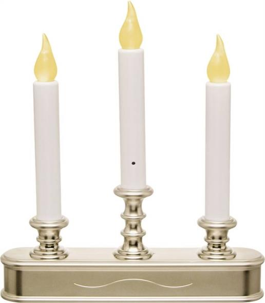 Xodus Innovations FPC1230P 3-Tier Candelabra LED Candle, 9.45 in L x 1.97 in W x 11.22 in H, Pewter Base