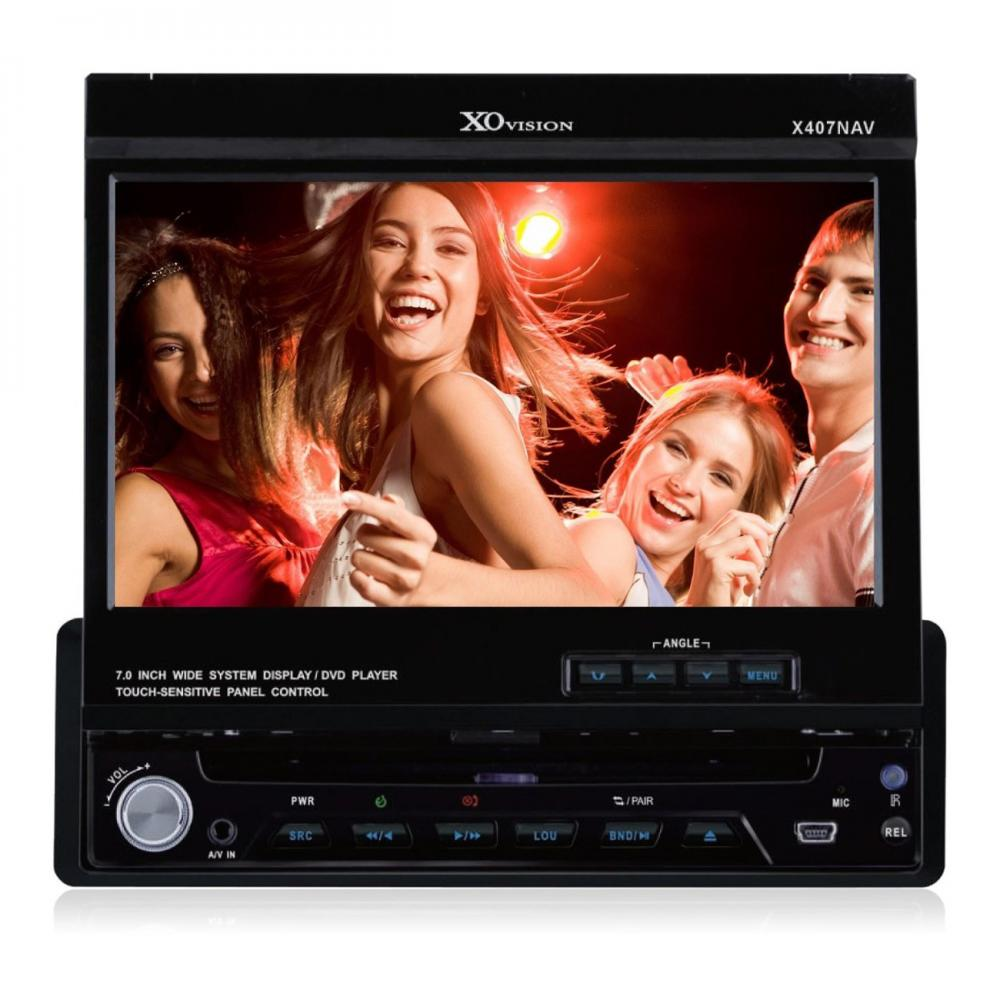 XO Vision X407NAV 1-DIN 7-inch Touch Screen DVD Receiver with GPS