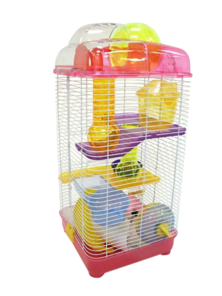 3 Level Clear Plastic Dwarf Hamster, Mice Cage with Ball on Top, Pink