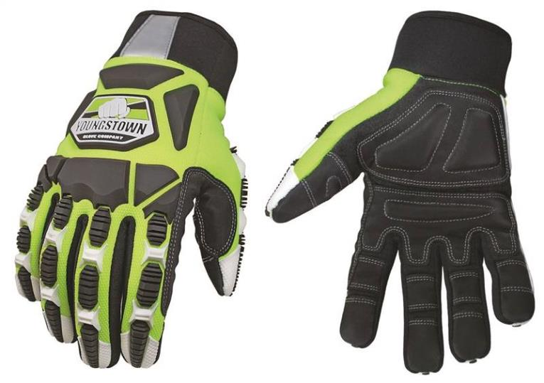 Youngstown Titan XT 09-9060-10 Heavy Duty Mechanic Gloves, Large, Hi-Viz Lime Green, Foam Lining