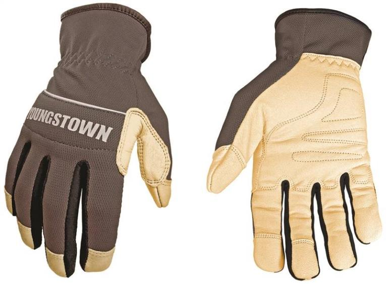 Youngstown Hybrid Plus 12-3180-70 Work Gloves, Large, Polyester Span Mesh, Bonded Nylon, Gray