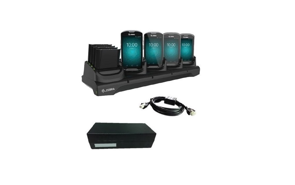 Zebra 4-Slot With 4-Slot Spare Battery Charger Cradle Kit With Power Supply For TC51/TC56 CRD-TC51-5SC4B-01