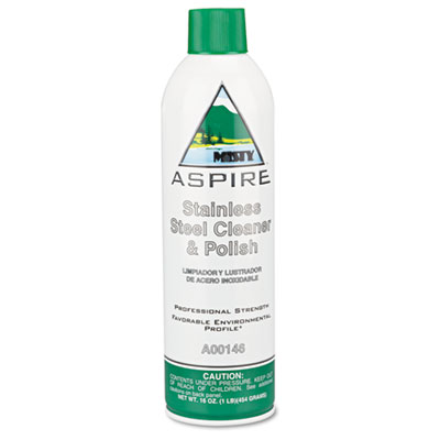 Aspire Stainless Steel Cleaner & Polish, Lemon Scent, 16oz Aerosol