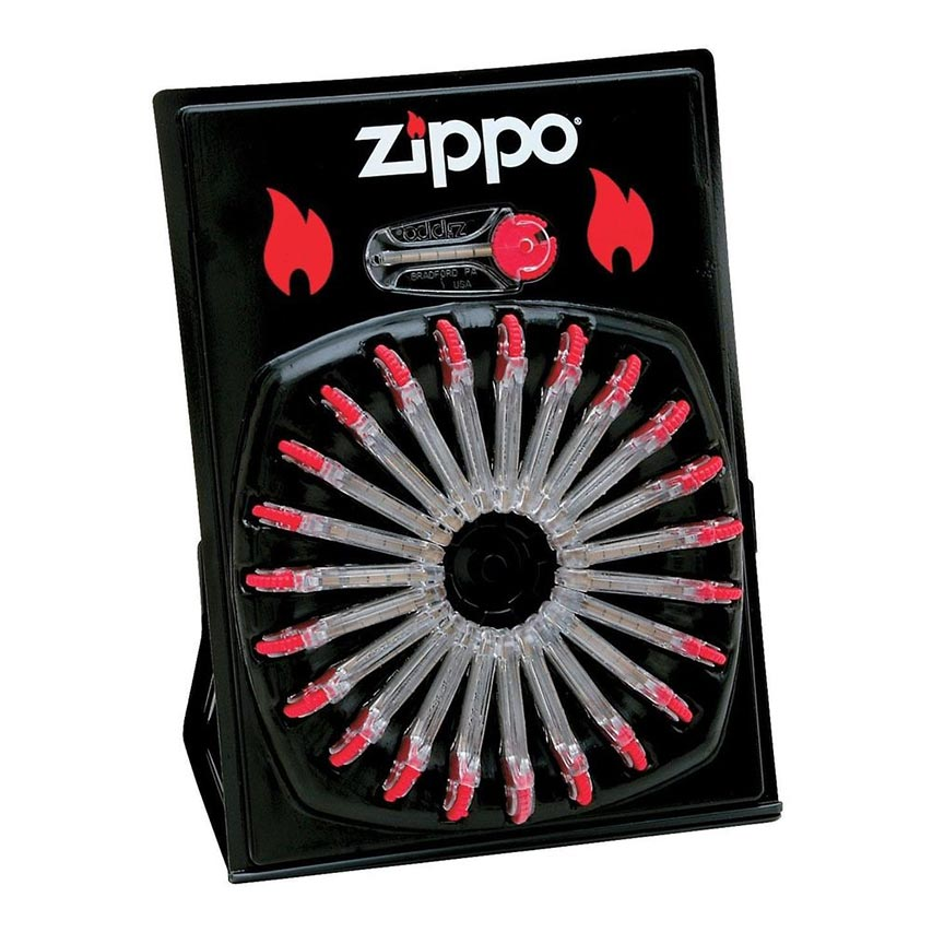 Zippo Windproof Lighter Flints - Display Wheel (24 Dispensers Per Card 6 Flints per Dispenser)