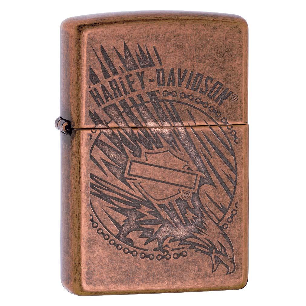 Zippo Lighter w/Harley-Davidson Logo  Antique Copper