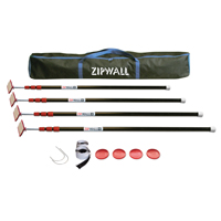 Zipwall ZP4 Zip Pole Kit, 12 Pieces, 4 ft 2 in - 10 ft 3 in