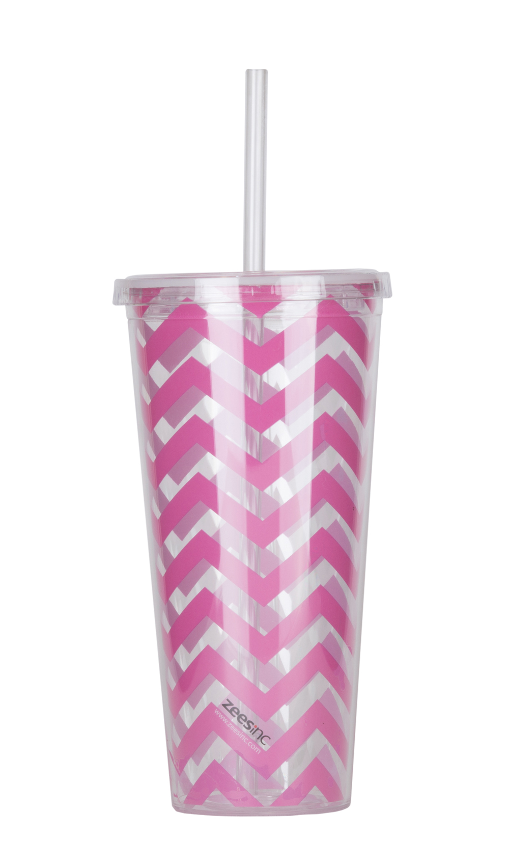 Thirzt 2 Go Tumbler with Lid & Straw - Chevron Pink