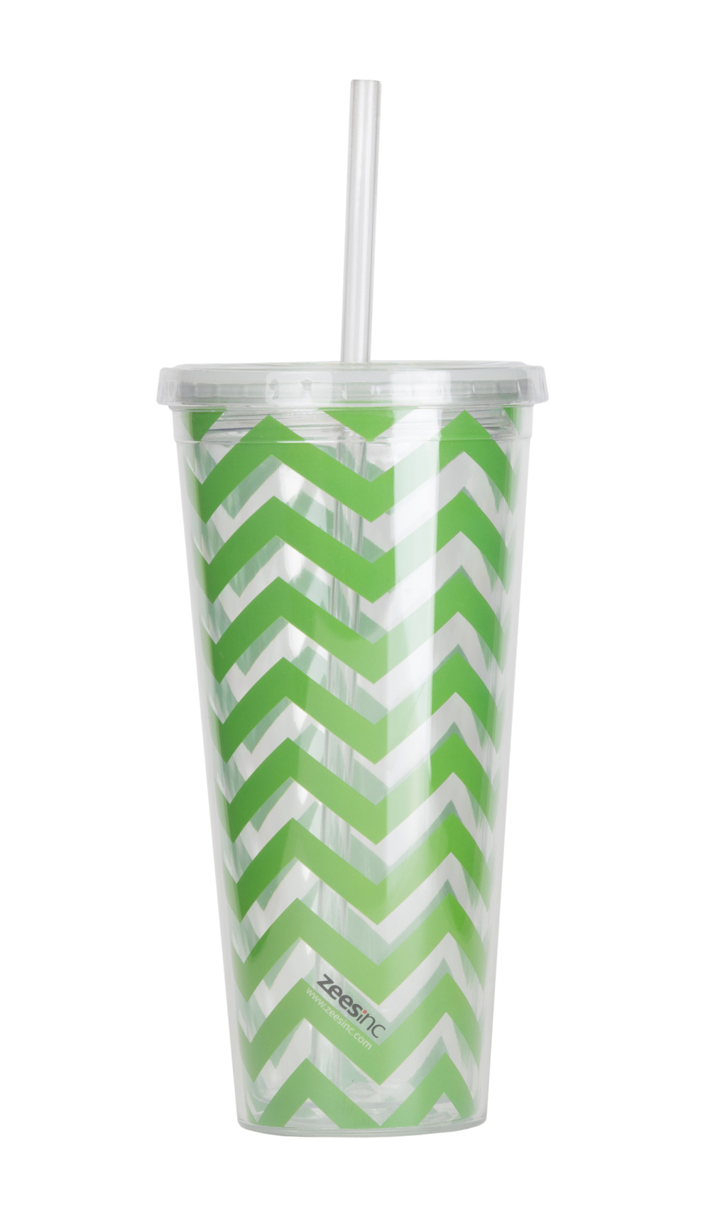 Thirzt 2 Go Tumbler W/ Lid & Straw - Chevron Lime Green