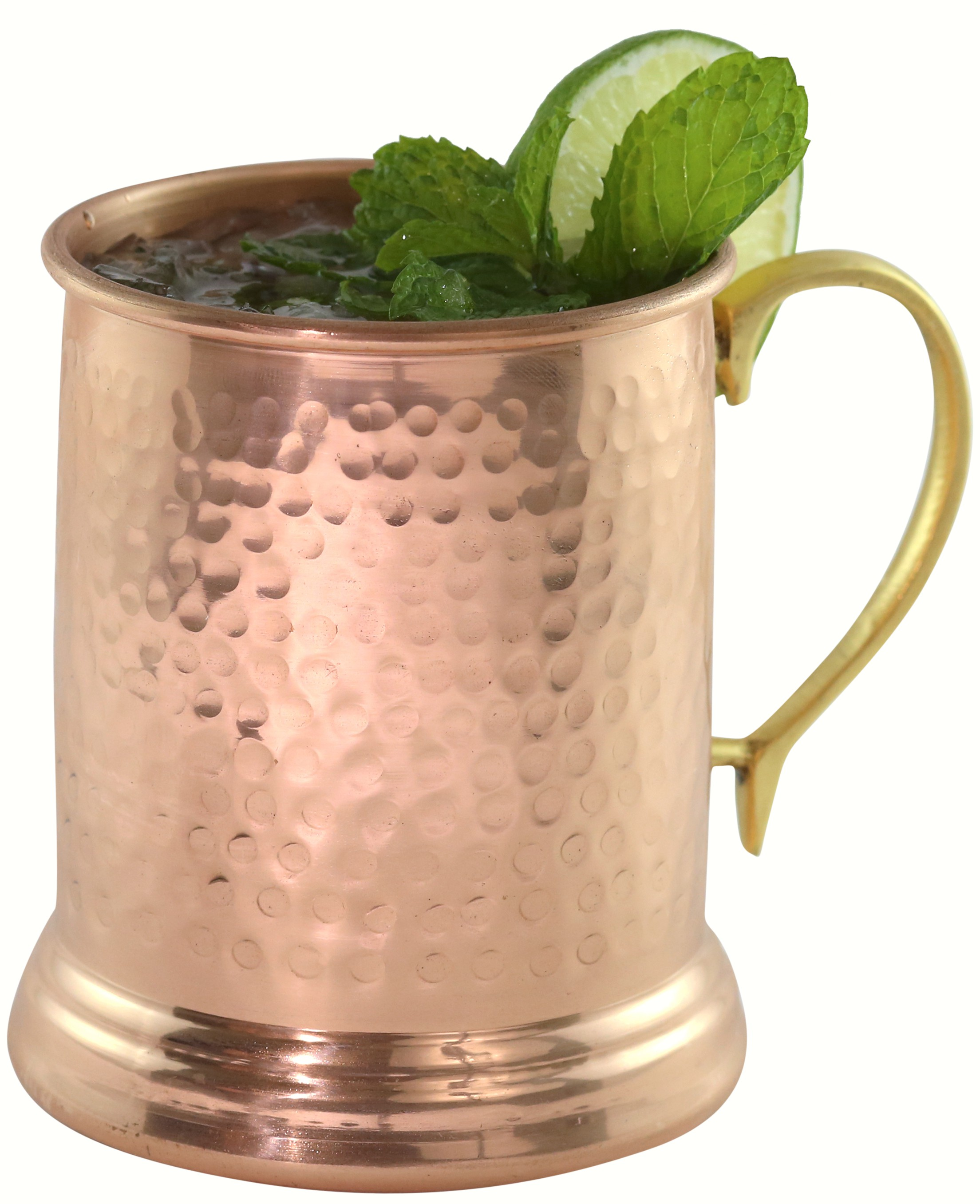 24 oz Tankard Hammered Copper Mug w/Brass Handle