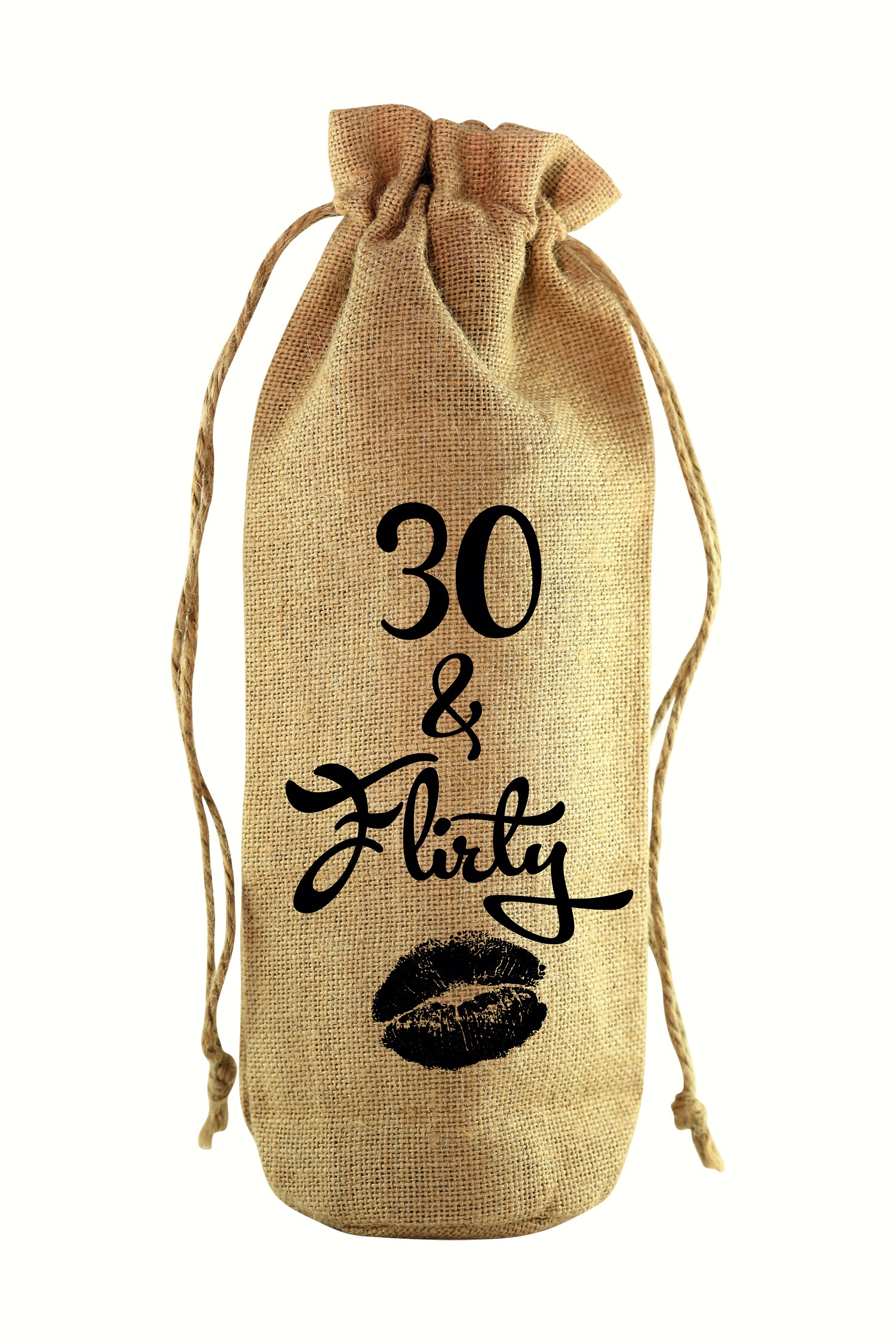 30 & Flirty Jute Wine Bottle Sack