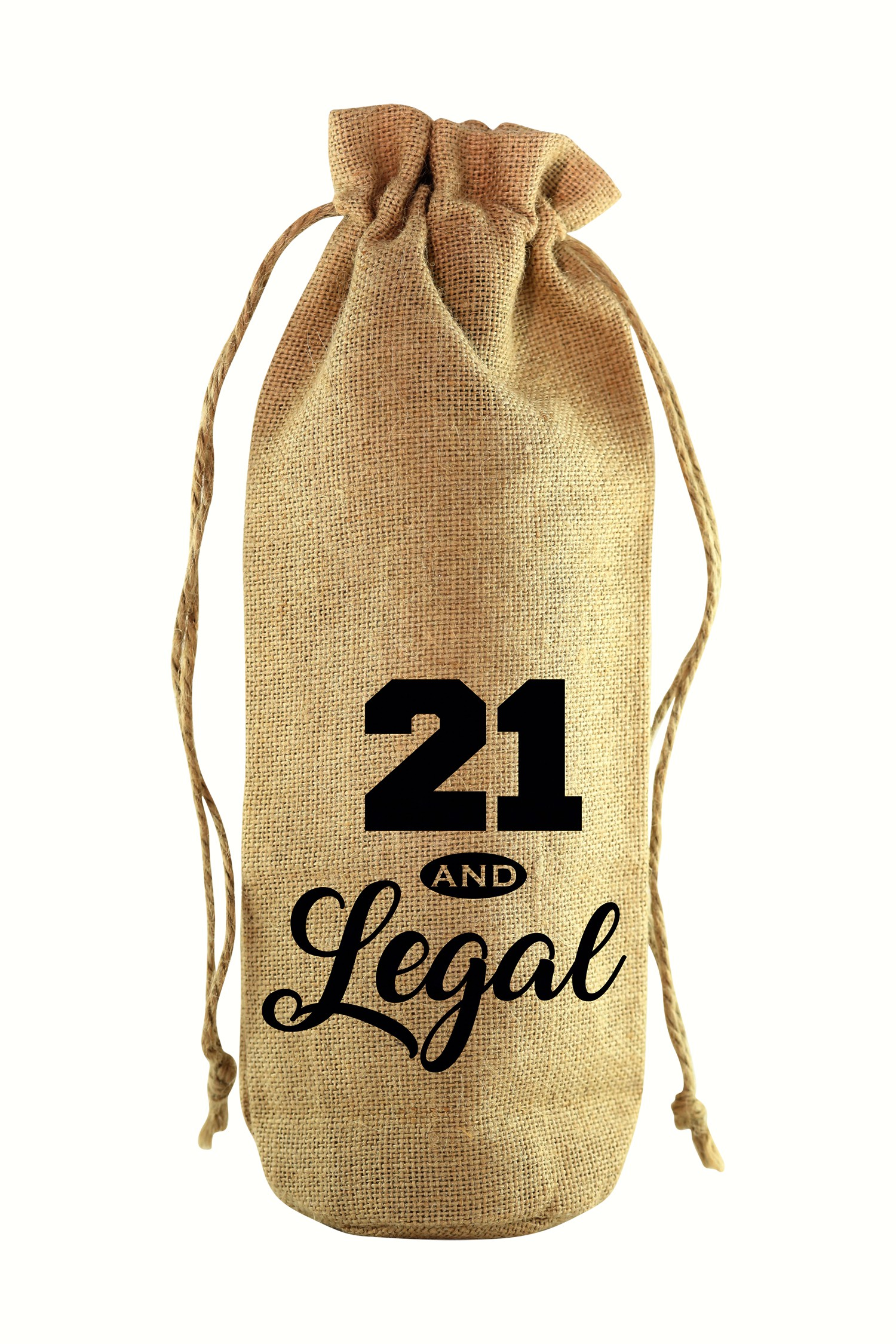 21 & Legal Jute Wine Bottle Sack