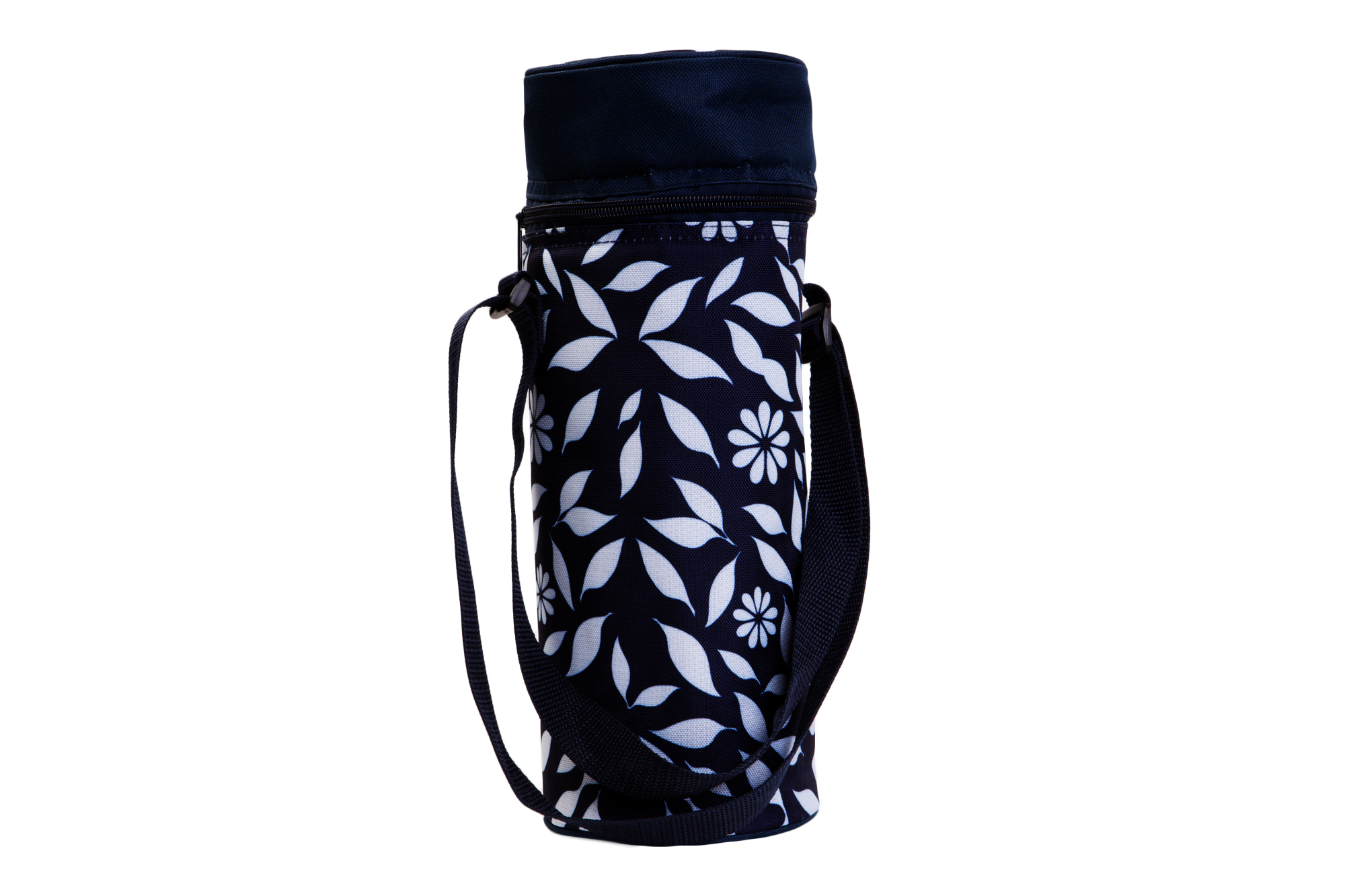 Insulated Wine Tote - Navy Floral