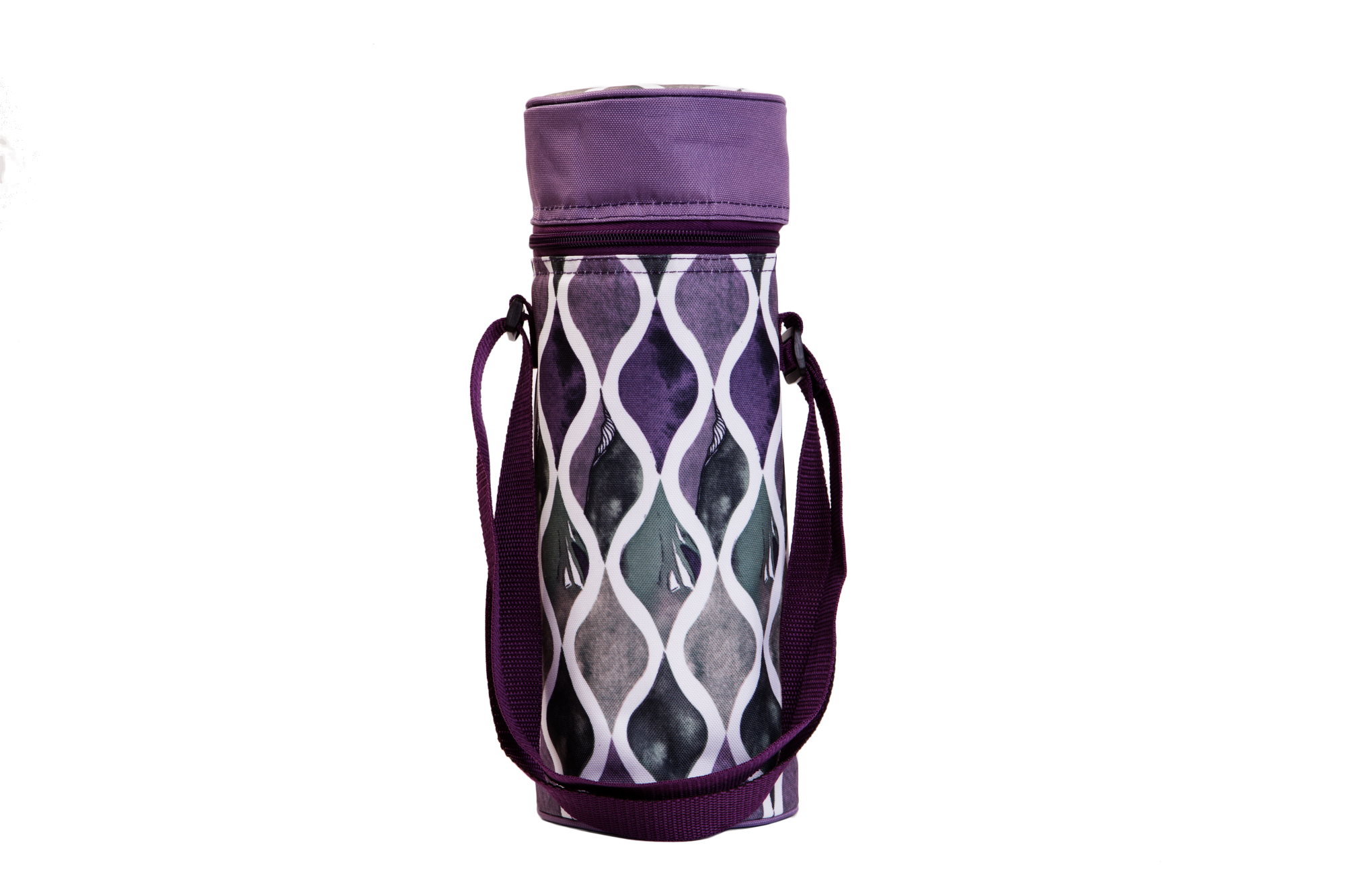 Insulated Wine Tote - Purple Waves