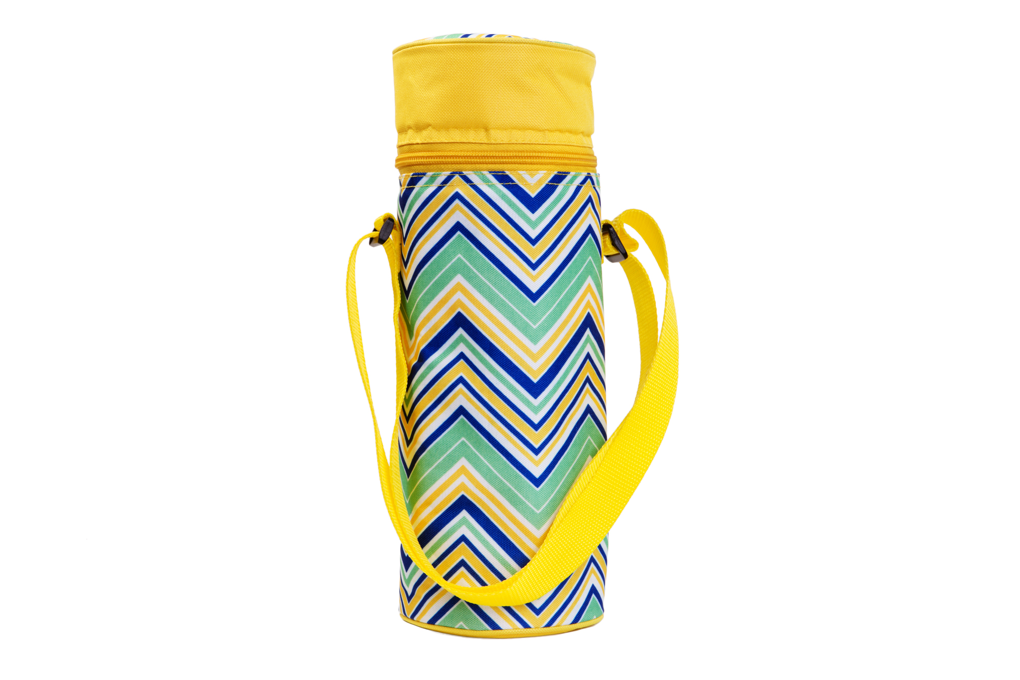 Insulated Wine Tote - YellowithMulti Chevrons