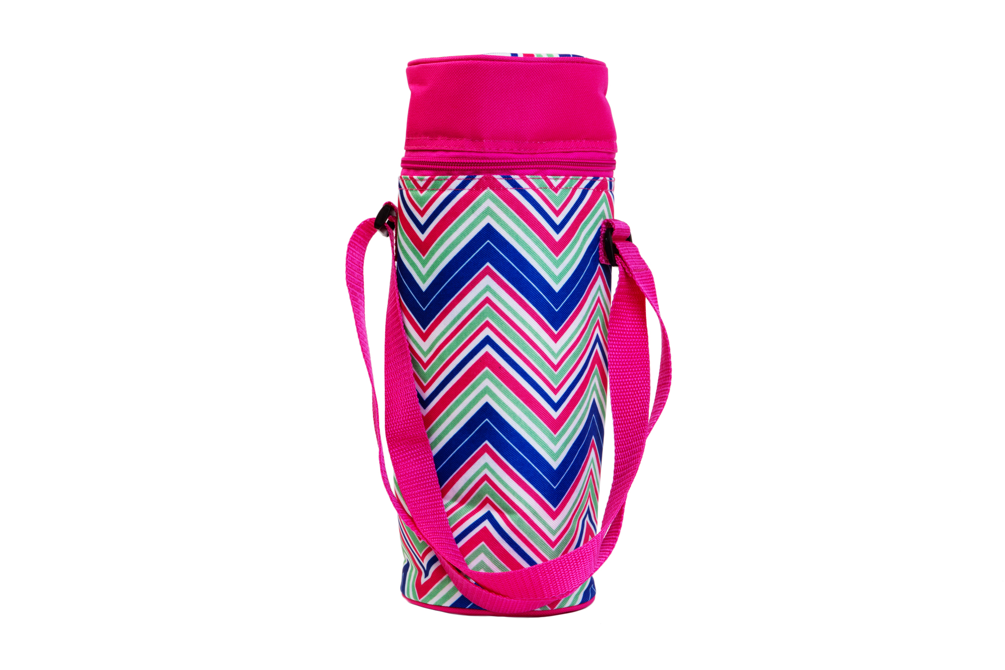 Insulated Wine Tote - Pink/Multi Chevrons