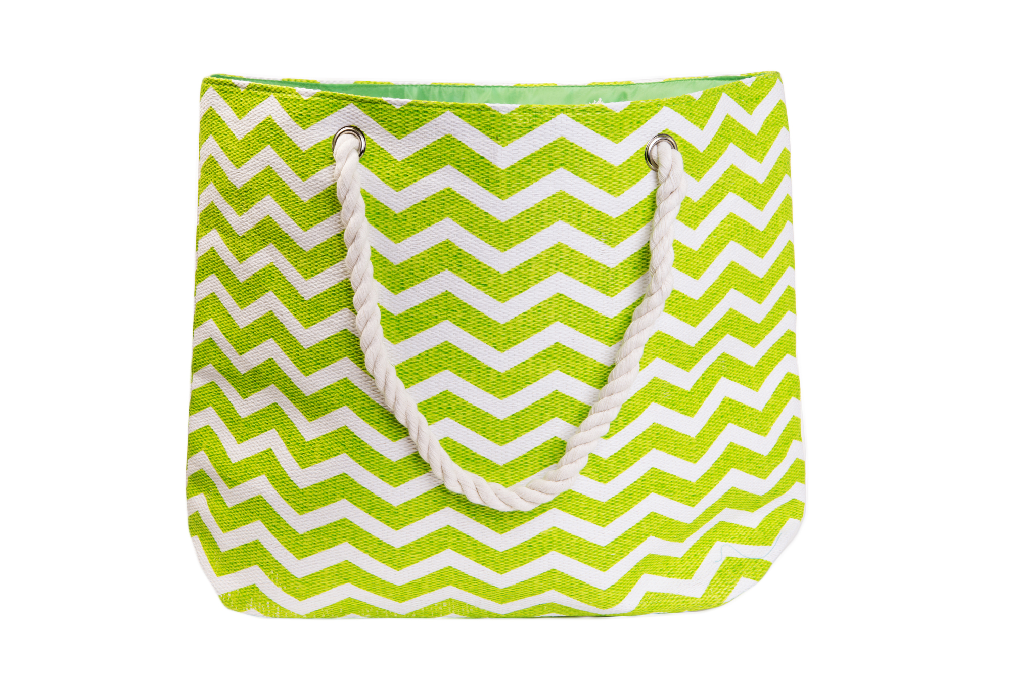 Straw Beach Bags W/ Pocket - Green Chevrons