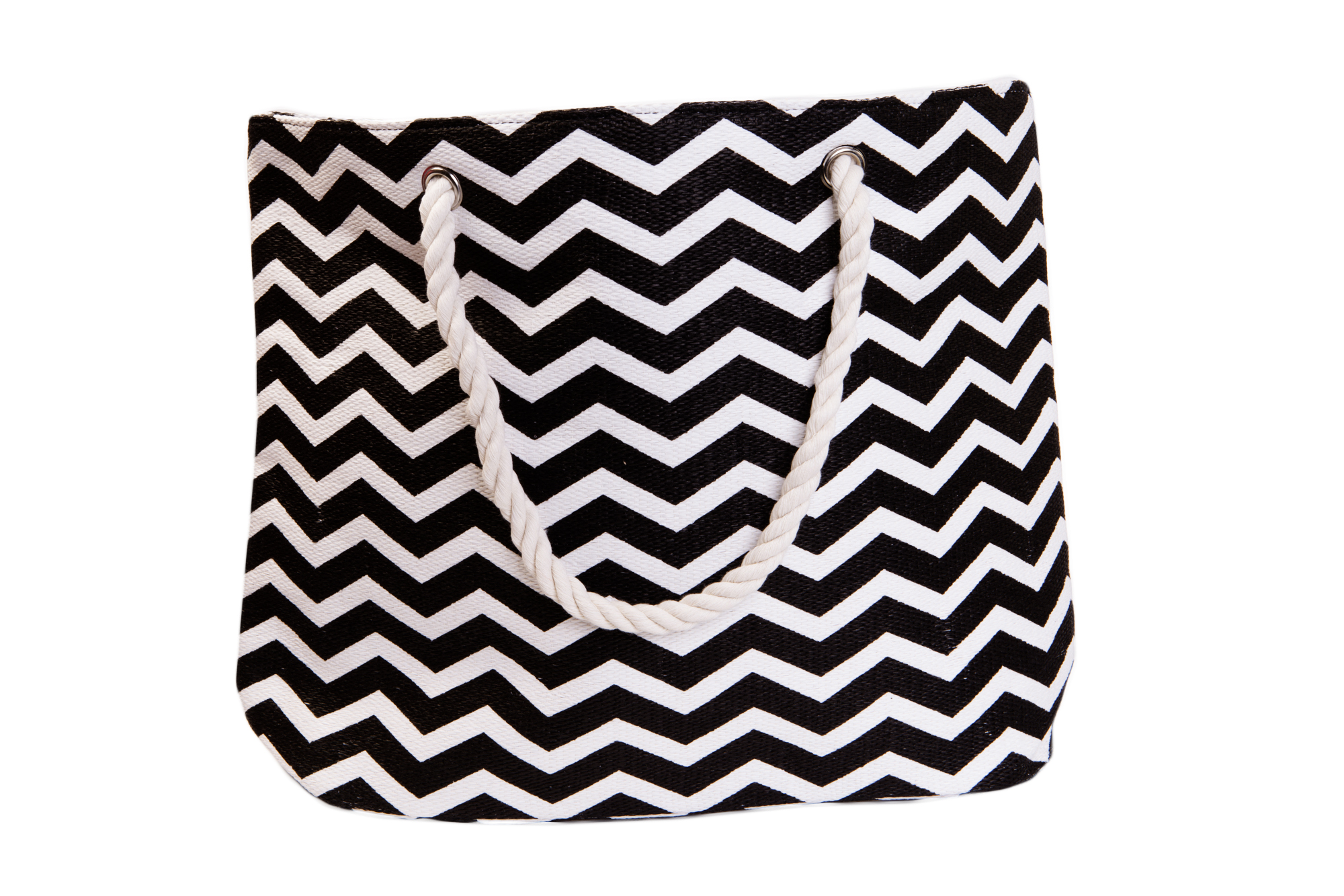 Straw Beach Bags W/ Pocket - Black Chevrons