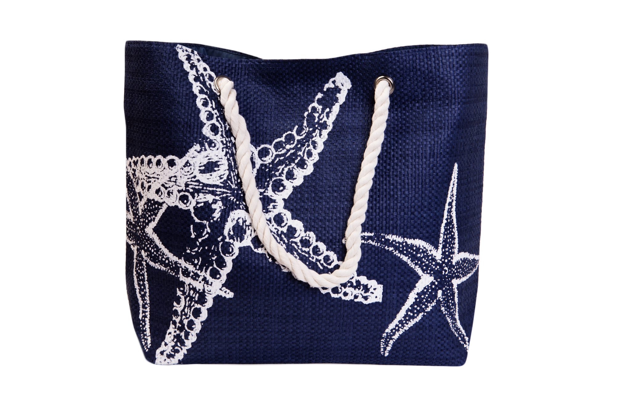 Straw Beach Bags W/ Pocket - Navy Starfish
