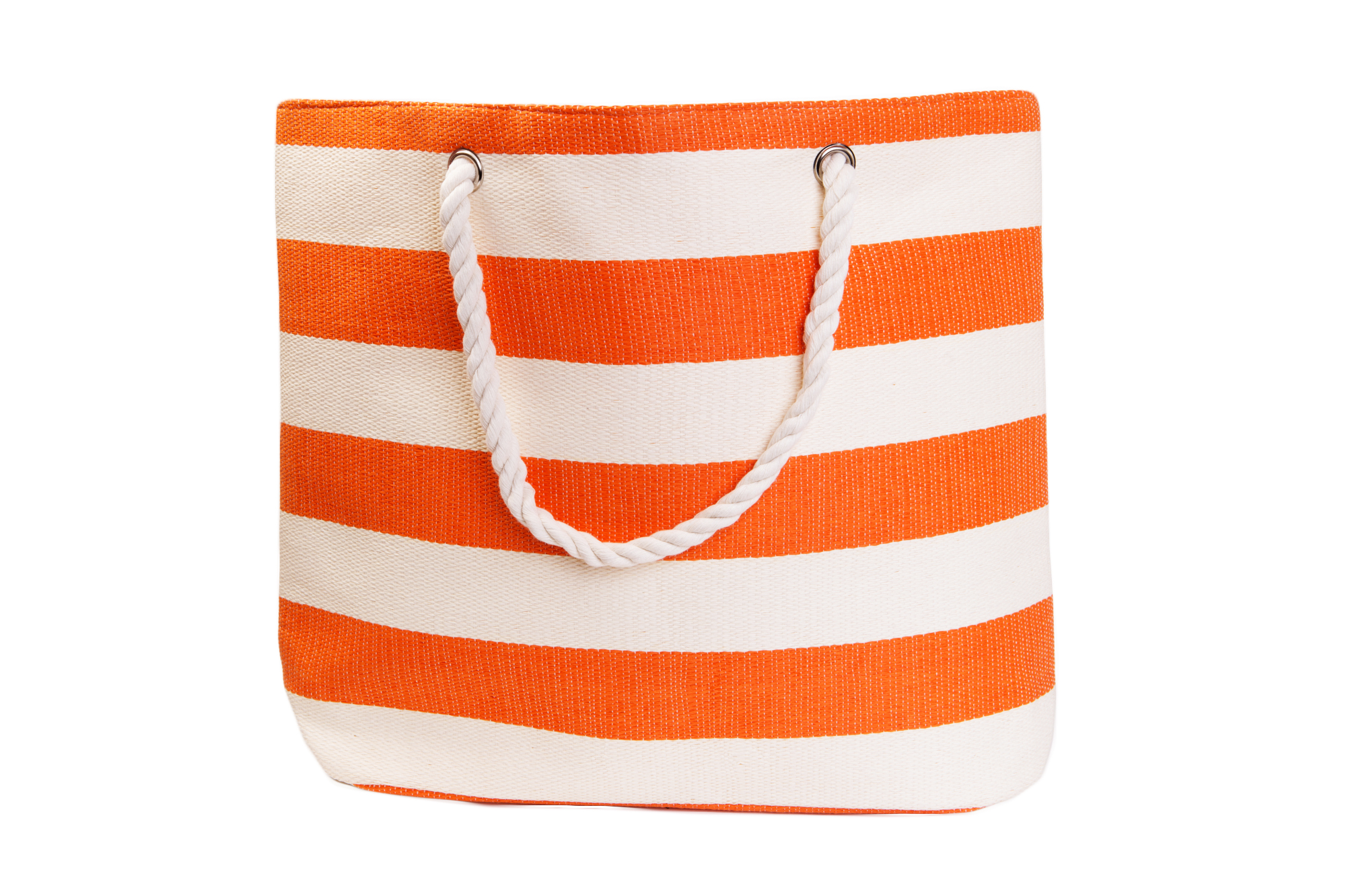 Straw Beach Bags W/ Pocket - Orange Stripes