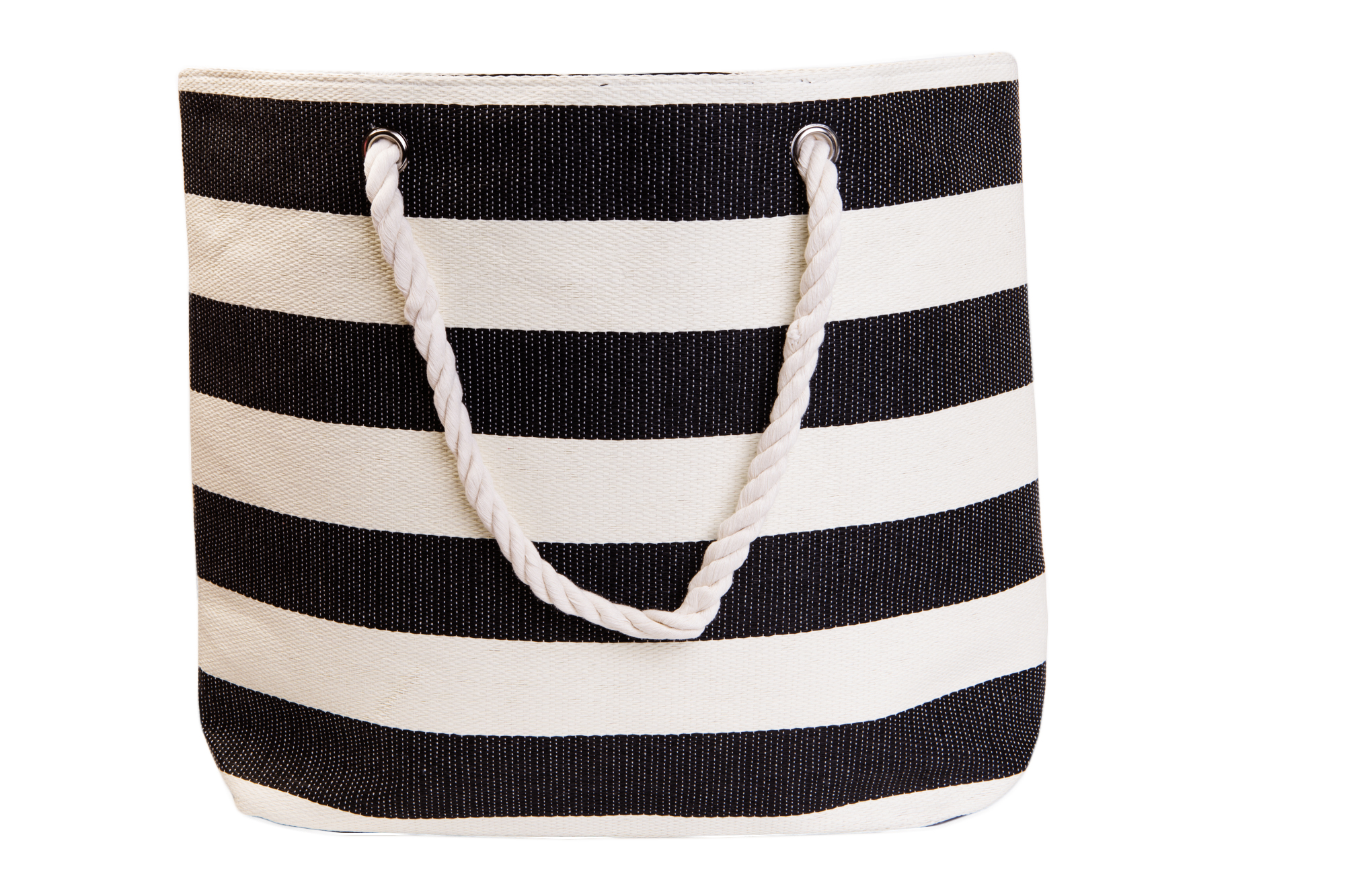 Straw Beach Bags W/ Pocket - Black Stripes