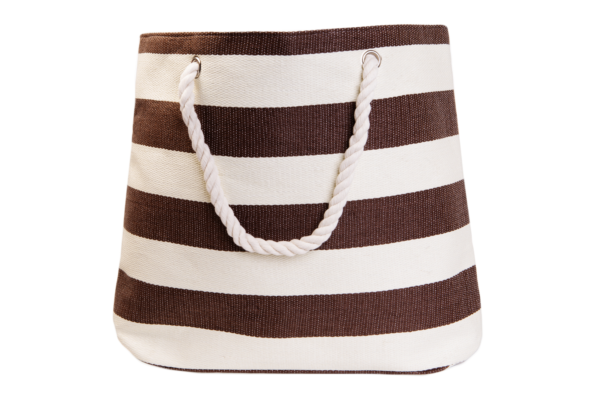 Straw Beach Bags W/ Pocket - Mocha Stripes
